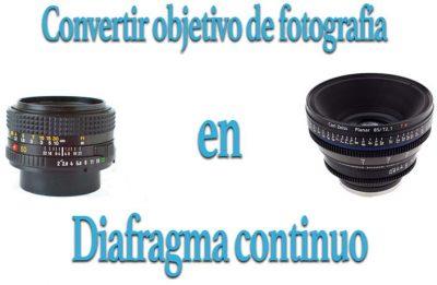 Diafragma continuo en objetivo de fotografía